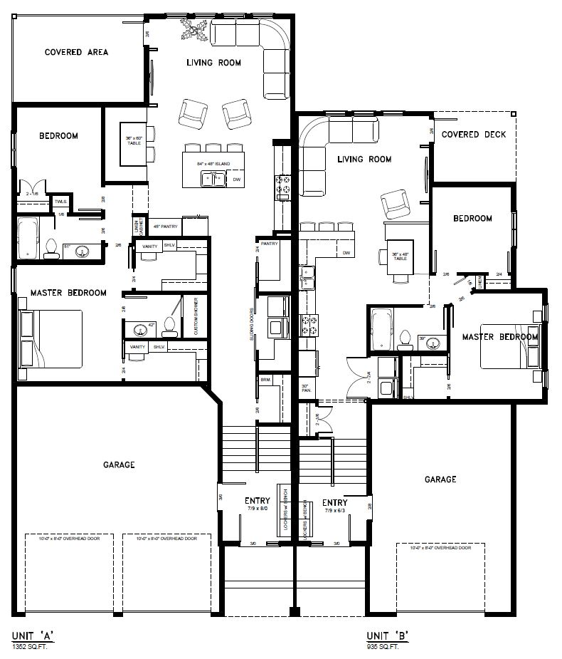 Duplex floor plans with garage cheap bedroom duplex floor for Duplex house plans free download